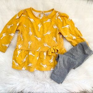 Carter's Baby Girl Yellow Giraffe 2 Piece Set